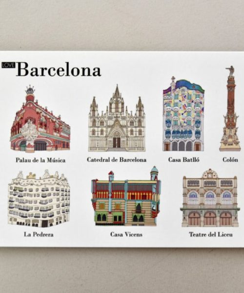 Illustrated postcards Barcelona visual 1