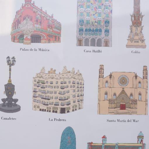 Poster lieux à visiter à Barcelone - détail 2