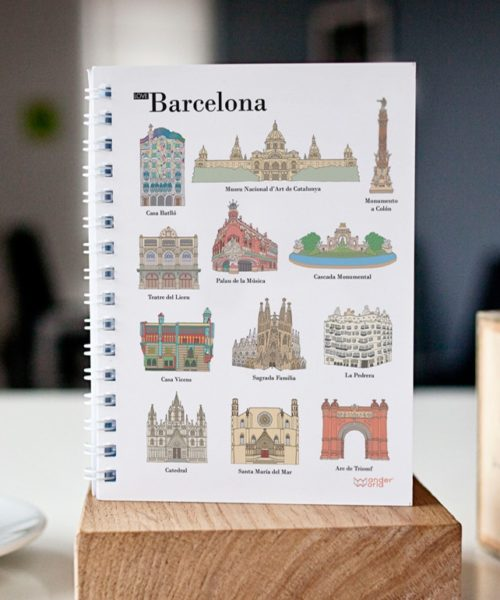 original spiral notebook Barcelona monuments cover