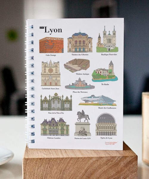 original spiral notebook Lyon monuments cover