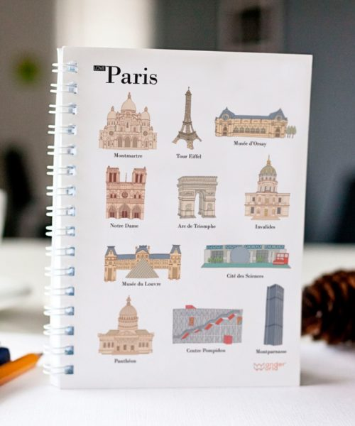 original spiral notebook Paris monuments cover