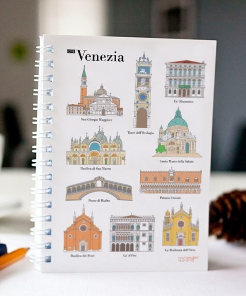 original spiral notebook Venice monuments cover