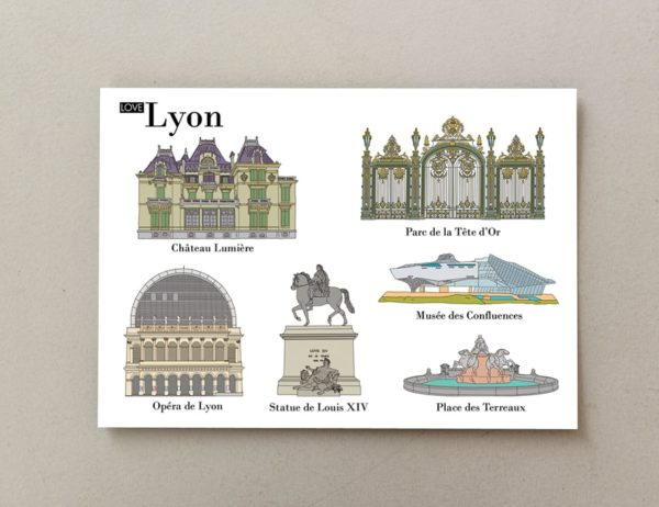 Illustrated postcards Lyon 1