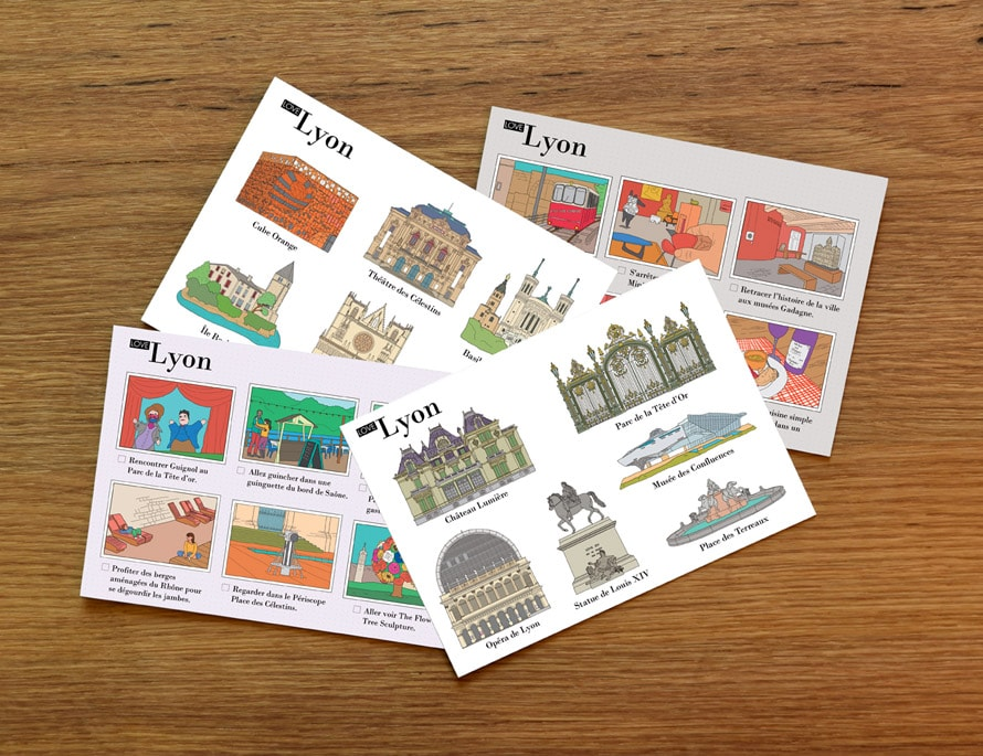 Illustrated postcards Lyon