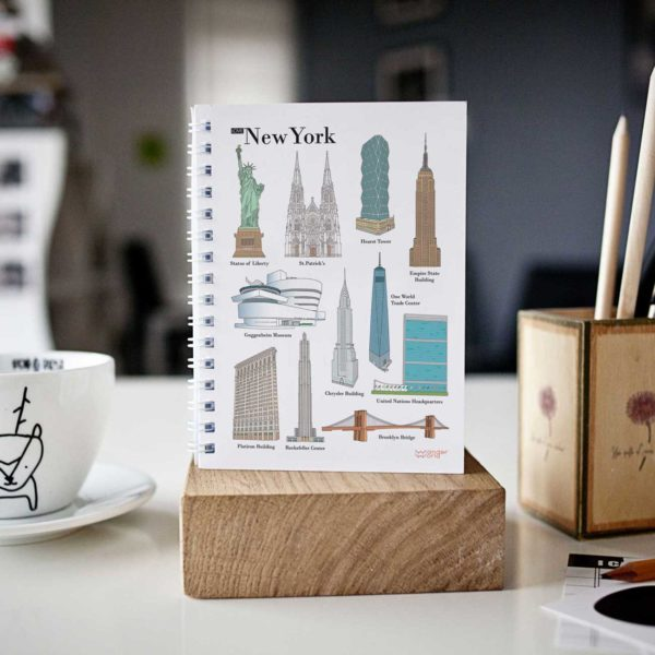 original spiral notebook New York monuments cover