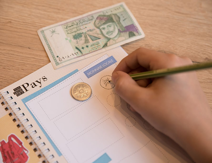 carnet de voyage vierge monnaie pays