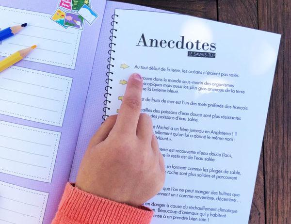 carnet de voyage à la mer de WanderWorld pour enfants anecdotes sur les océans