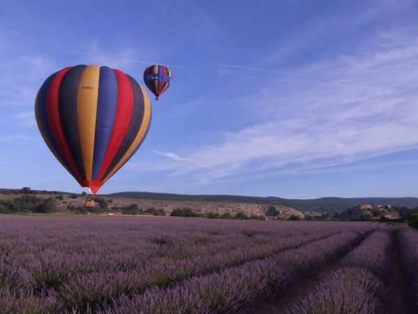 Idées de cadeaux originaux à offrir à des mariés - balade en montgolfière au-dessus d'un champ de lavande